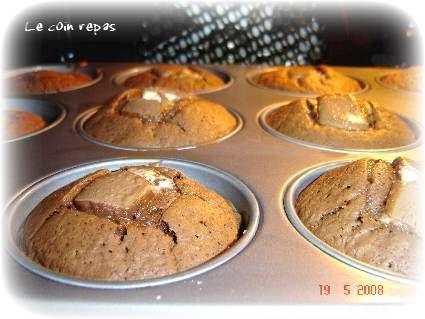 recettes dessert  Petits moelleux chocolat au coeur de kinder