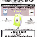 <b>Réunion</b> d'info/débat LINKY, jeudi 8 juin, 20h30, à la Coupole de Villard-de-Lans