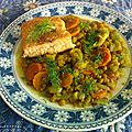 Pavés de saumon au <b>fenouil</b> et lentilles aux épices