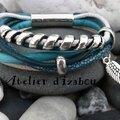 Un aile pour s'envoler dans un ciel bleu turquoise, le rêve !? Avec ce <b>bracelet</b> original en cuir rond de textures différentes...