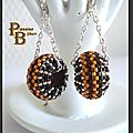 B.O. PUMPKIN/BROWN WHEEL EARRING