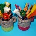 Spécial maîtresse: <b>pot</b> en crochet et crayons fleur