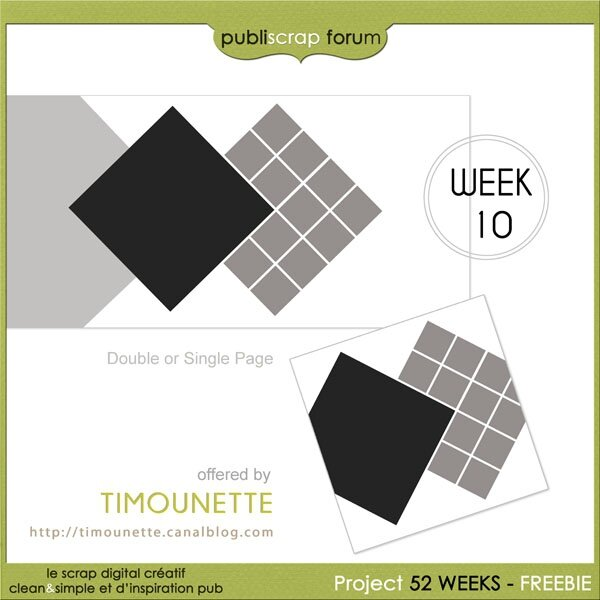 Templates 142 et 143 - Week 10 - Projet 52 Weeks by Publiscrap - Freebie