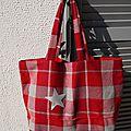 Grand cabas en lainage gris et <b>rouge</b> Hermès - réversible toile <b>rouge</b> - étoile gris argent - Modèle unique