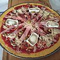 Pizza de polenta au jambon blanc, au <b>fromage</b> de chèvre et aux oignons caramélisés