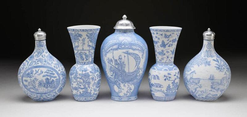 Nearly Natural Dahlia in Blue Ceramic Vase 11 Purple 1538-PP