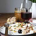 Salade de haricots blancs à la grecque et vinaigrette à la cacahuète