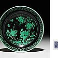 A Rare <b>Black</b>-<b>Ground</b> Green-Glazed Saucer Dish. Qianlong Seal Mark In Underglaze Blue And Of The Period (1736-1795) 