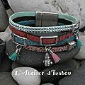 Joli bracelet large artisanal pour femme,fait main en cuir bleu et argenté, cuir liège rose, cuir caviar rose,daim à <b>strass</b>