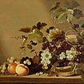 Delft Master, circa 1640, Still life of fruits on <b>a</b> <b>table</b>, 1640