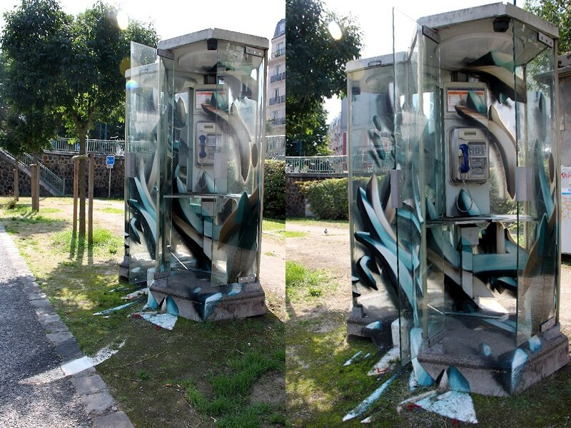 9- Djalouz, cabine téléphonique, canal de l'Ourcq