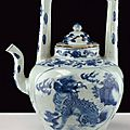 A beautiful and rare <b>blue</b> and white porcelain tea pot, 17th Century