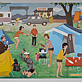 Collection ... <b>Affiche</b> scolaire NATHAN 1966 * AU CAMPING
