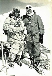 The Ascent of Dhaulagiri - Dhaulagiri First Ascent - Peter Diener and Ernst Forrer on Dhaulagiri summit May 13, 1960