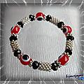 Bracelet Totem Perle Oeil <b>Rouge</b> Et Noir Et <b>Blanc</b> Perles Noires Crystal Facettées Métal Argenté Elastique