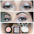 Maquillage lumineux de yeux en gris et blanc