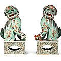 A large pair of famille-verte Buddhist <b>lions</b>, Qing Dynasty, Kangxi Period (1662-1722)