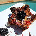 Mini <b>clafoutis</b> cerises/mûres et sa verrine de coulis de cerise griotte
