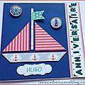 Carte double anniversaire sur le thème de la mer format carré (13 x 13)
