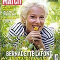 <b>Bernadette</b> Lafont dans Paris Match 1/08/2013