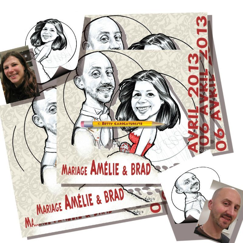 faire-part save the date en caricatures depuis photographie