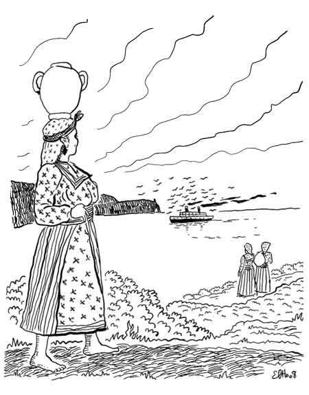 Azzlemt a Lxalat album Izlan Ibahriyen, Chants des Marins Kabyles; dessin d'Elho
