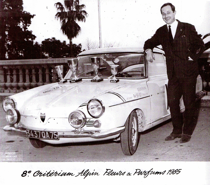 1965 - 5ème Critérium Automobile Jean Behra - Yves Guérin et Paul Brossin - NSU N° 90 Sport Prinz (959 PD 06) Coupes - Photo Junior Sejnost