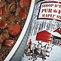 Lentilles blondes, saucisses fumées et confit d'<b>oignons</b> caramélisés au sirop d'érable: une cabane à sucre au Gouezou!