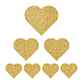 7 coeurs différentes tailles doré <b>pailleté</b> flex thermocollant (réservé Isabelle)