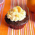 Cupcakess chocolat <b>orange</b> et pépites de chocolat blanc