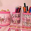 Pots, <b>boites</b> & Co... pour un bureau girly Paris/Petit rat de l'opéra!