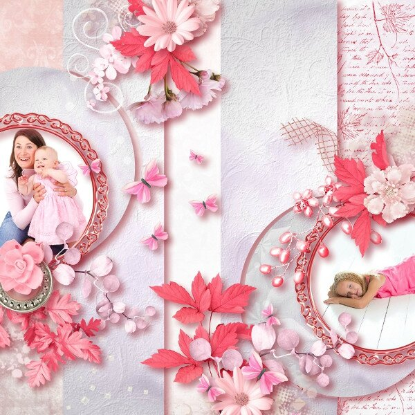 Talou - template 17-4 - kit La vie en rose de Pli Design - Photos Pixabay