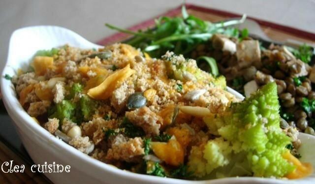 Crumble de choux la mimolette vieille et aux graines clea for La cuisine de clea