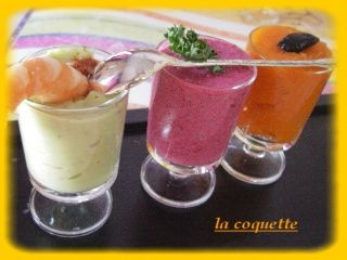 recettes entrees  Verrines betteraves, avocats, carottes