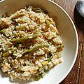 Risotto au <b>poulet</b> et haricots verts