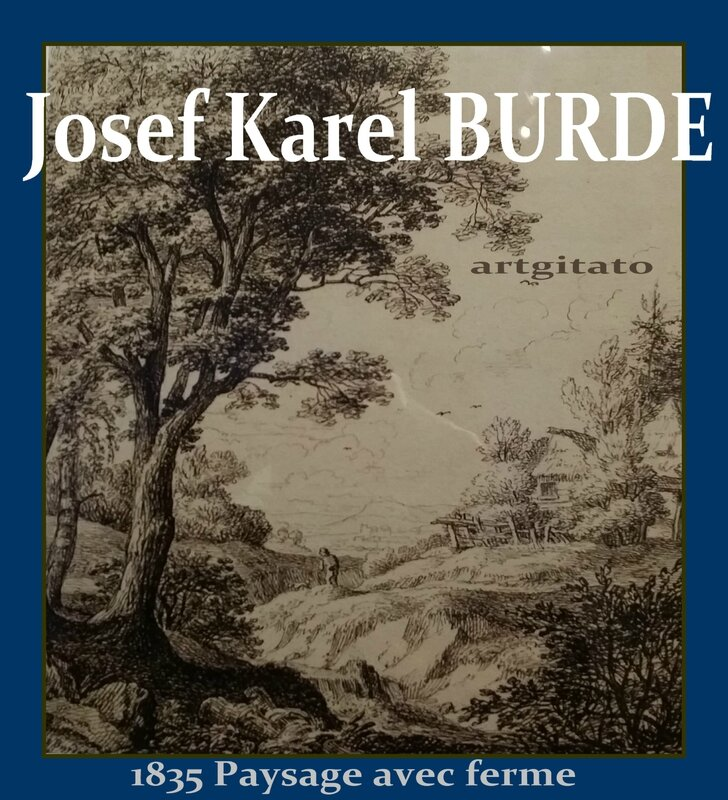 Josef Karel Burde Krajna s venkoskymi chalupani Paysage avec ferme 1835 Artgitato