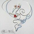 <b>Collier</b> <b>mariage</b> argenté perles rouge vif, boucles d'oreilles rouges
