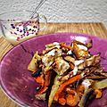 <b>Légumes</b> rôtis au four, croûtons et sauce moutarde