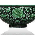 An extremely rare <b>black</b>-<b>ground</b> green enamelled bowl, China, Qianlong six-character seal mark and period