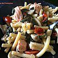 One Pot Pasta : Macaronis, Epinards, Saumon, Champignons, Tomates
