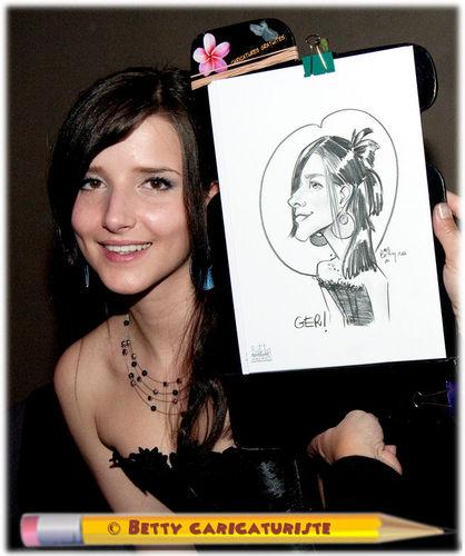 Caricature jeune fille réalisée en direct