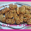 Palmiers fromage frais & <b>échalotes</b>