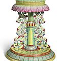 A large famille-rose '<b>lotus</b>' emblem stand, Qianlong seal mark and period (1736-1795)