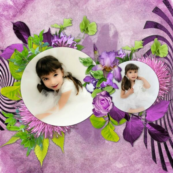 Scrap'Talou - template 1 pack 10 - kit l'amour est un bouquet de violette de Desclics - photo Nounou