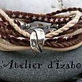 Un petit côté Far West pour ce <b>bracelet</b> en cuir beige, liberty marron à étoiles beiges et ses cordes beige et marron...