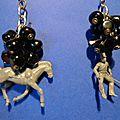 Des boucles d'oreille originales, Un cowboy et son cheval ! Insolite et fait main...