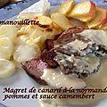 Magret de <b>canard</b> à la normande : pommes et sauce camembert