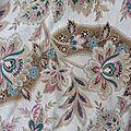 164 - Grand <b>tissu</b> <b>ancien</b> napoleon III Motif d'indiennes 79,5 x 118