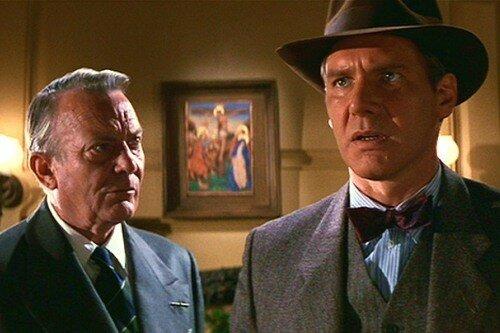 Denholm Elliott et Harrison Ford dans Indiana Jones & la dernière croisade