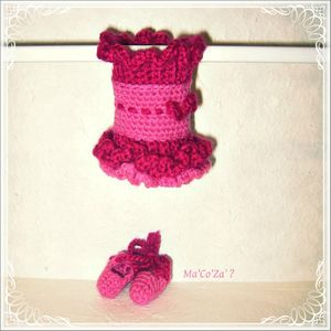 ensemble de ballerine au crochet rose 2